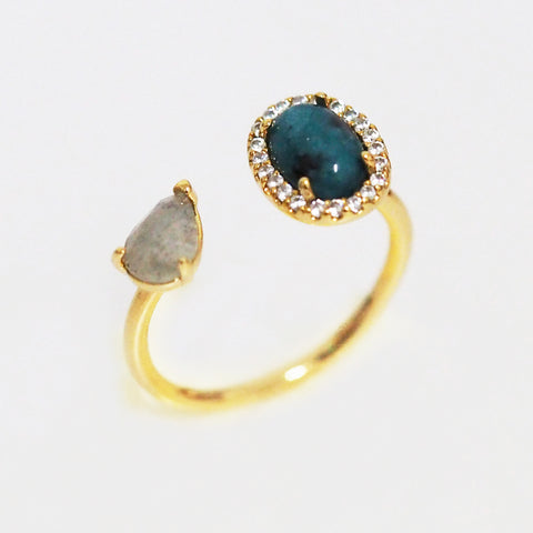 Adjustable Gold Ring with Labradorite and Dark Blue Opaque Stone