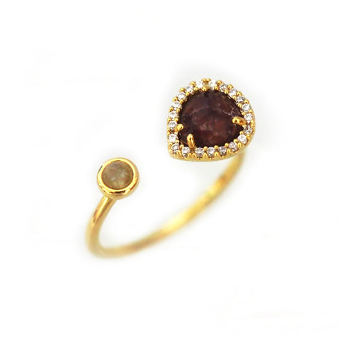 Adjustable Gold Ring with Deep Red Opaque Stone