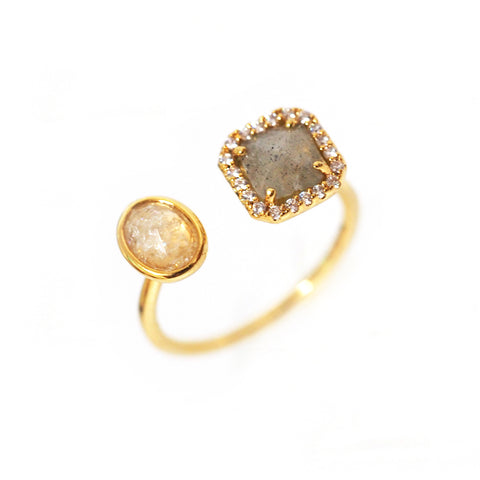 Adjustable Gold Ring with Labradorite and Cats Eye Stone