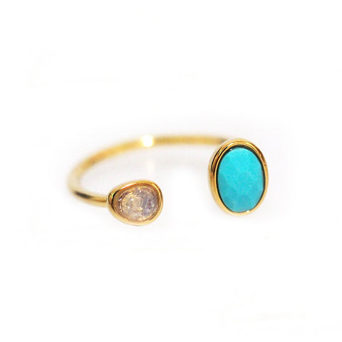 Adjustable Ring with Turquoise Stone