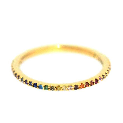 Single Band Rainbow Stone Ring
