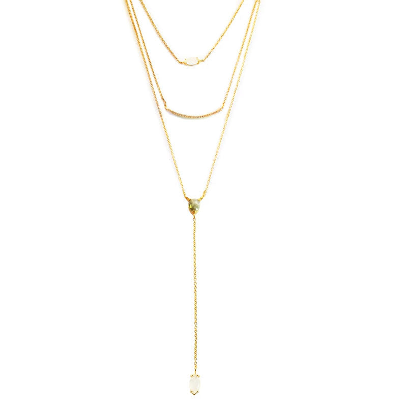 Triple Strand Y-Drop Necklace