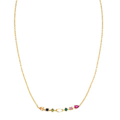Opal Bar & Colored Stone Bar Necklace