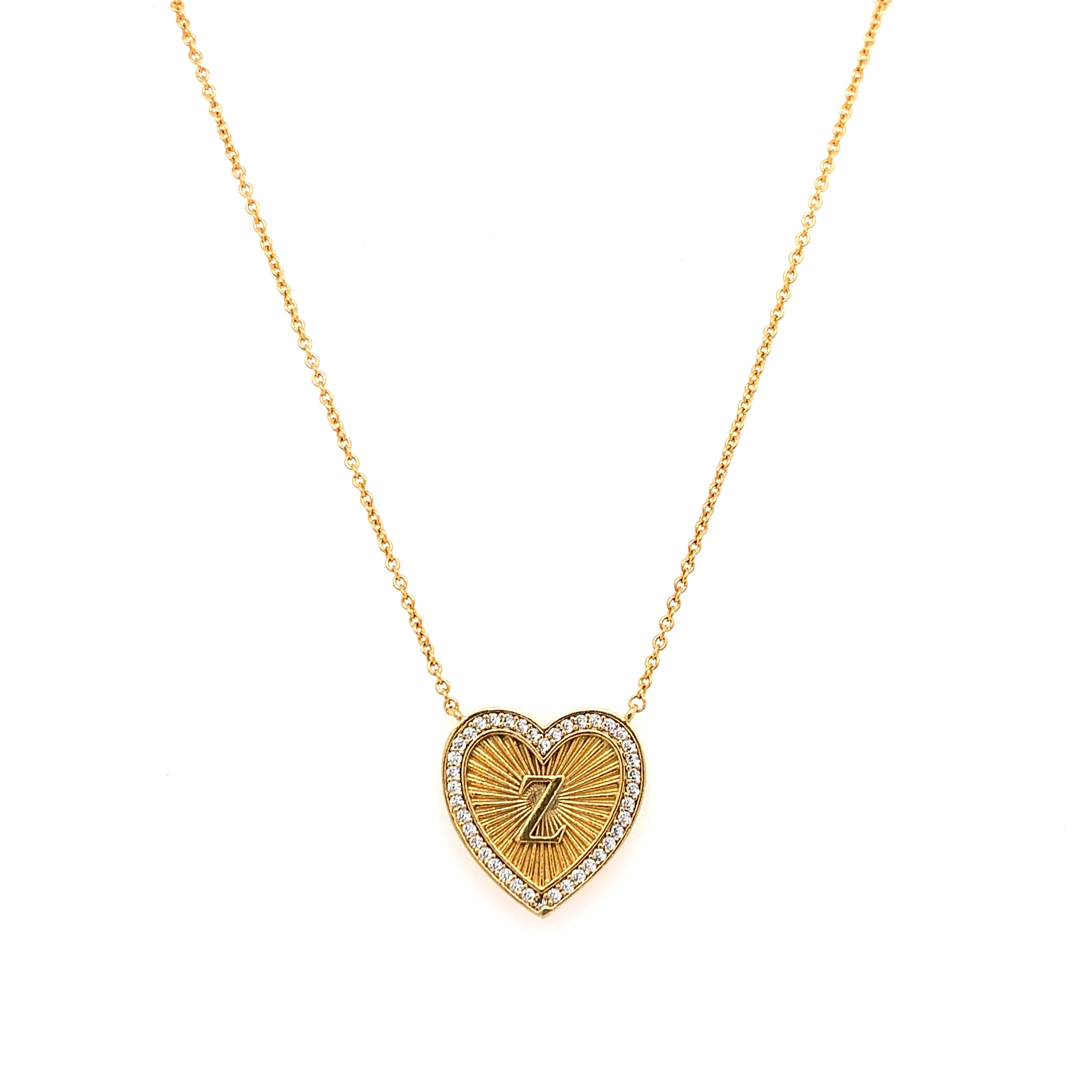 Vintage Inspired Heart Initial Necklace