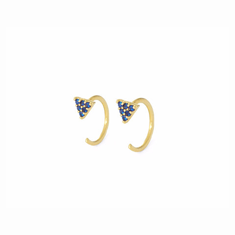 BLUE TRIANGLE HUGGIE EARRINGS