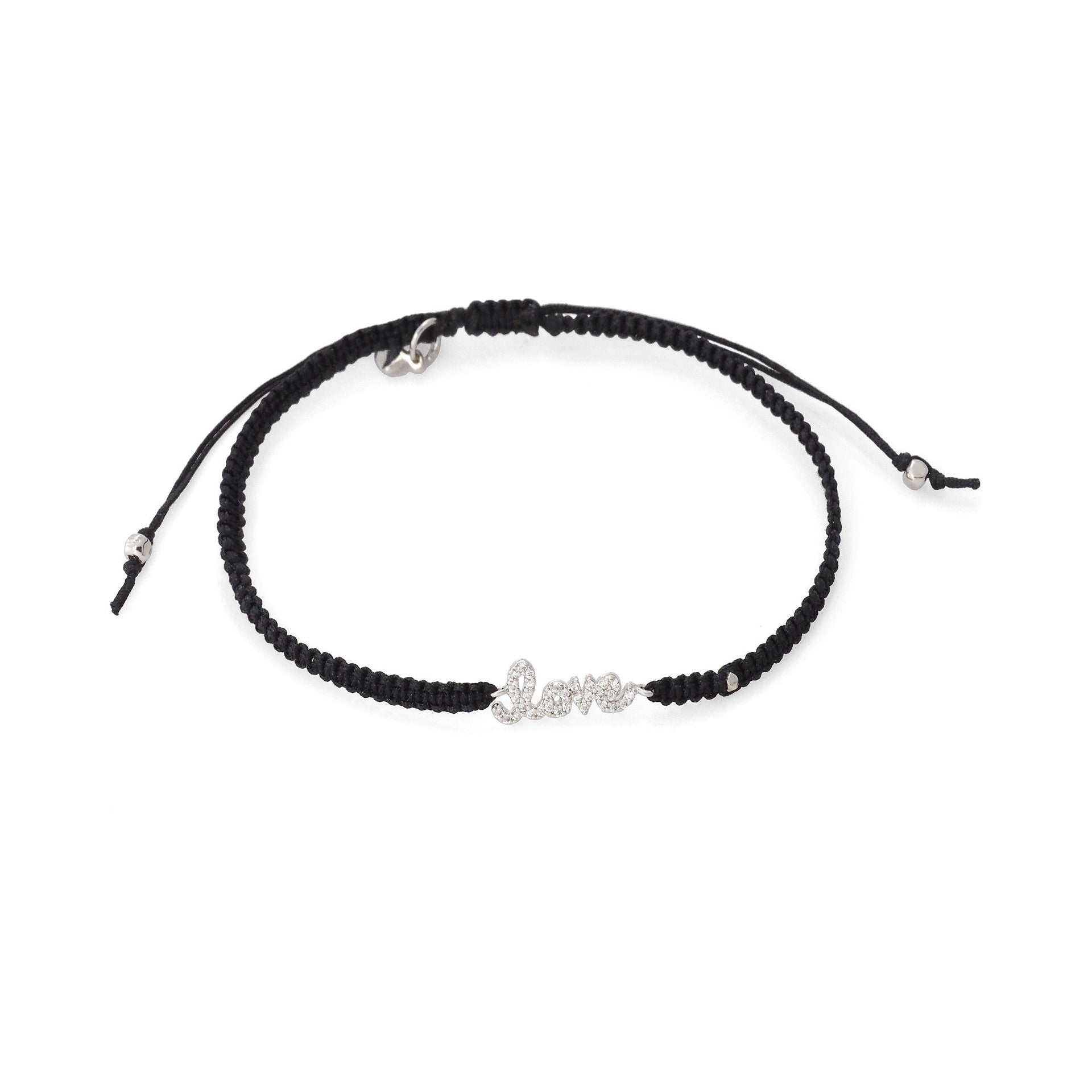 "BRAIDED SILK CORD BRACELET WITH ""LOVE"""