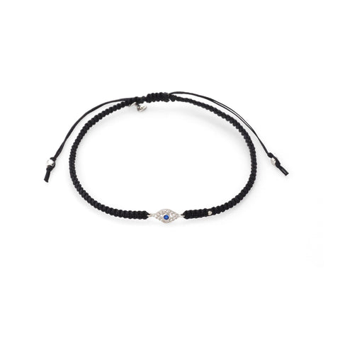 BRAIDED SILK CORD BRACELET WITH MINI EVIL EYE