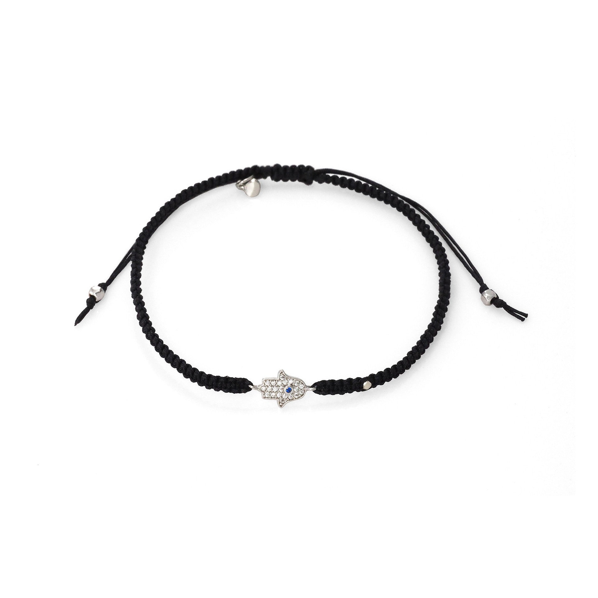 BRAIDED SILK CORD BRACELET WITH MINI HAMSA