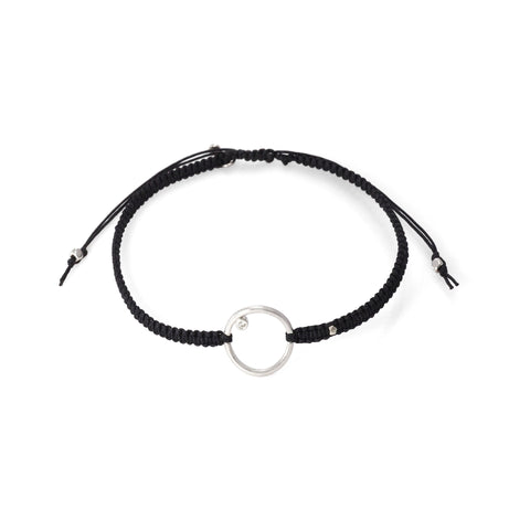 BRAIDED SILK CORD BRACELET WITH OPEN CIRCLE