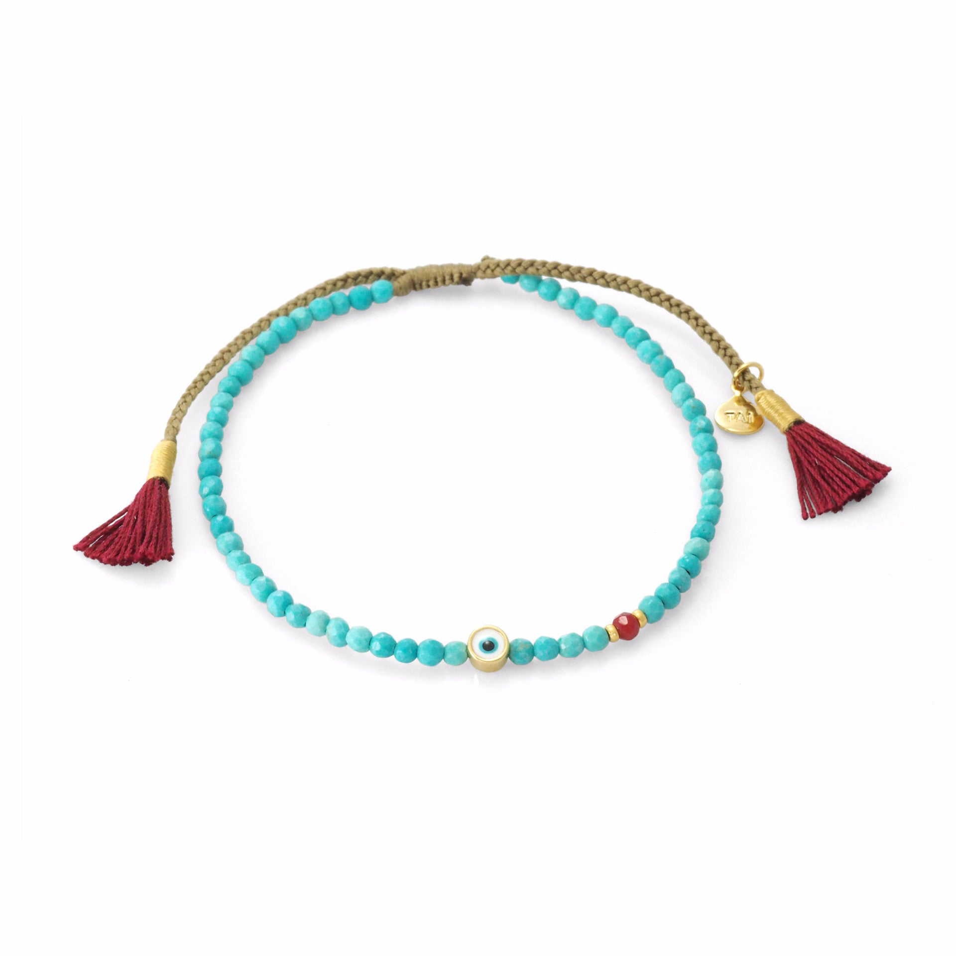 BEADED BRACELET WITH ROUND ENAMEL EVIL EYE CHARM