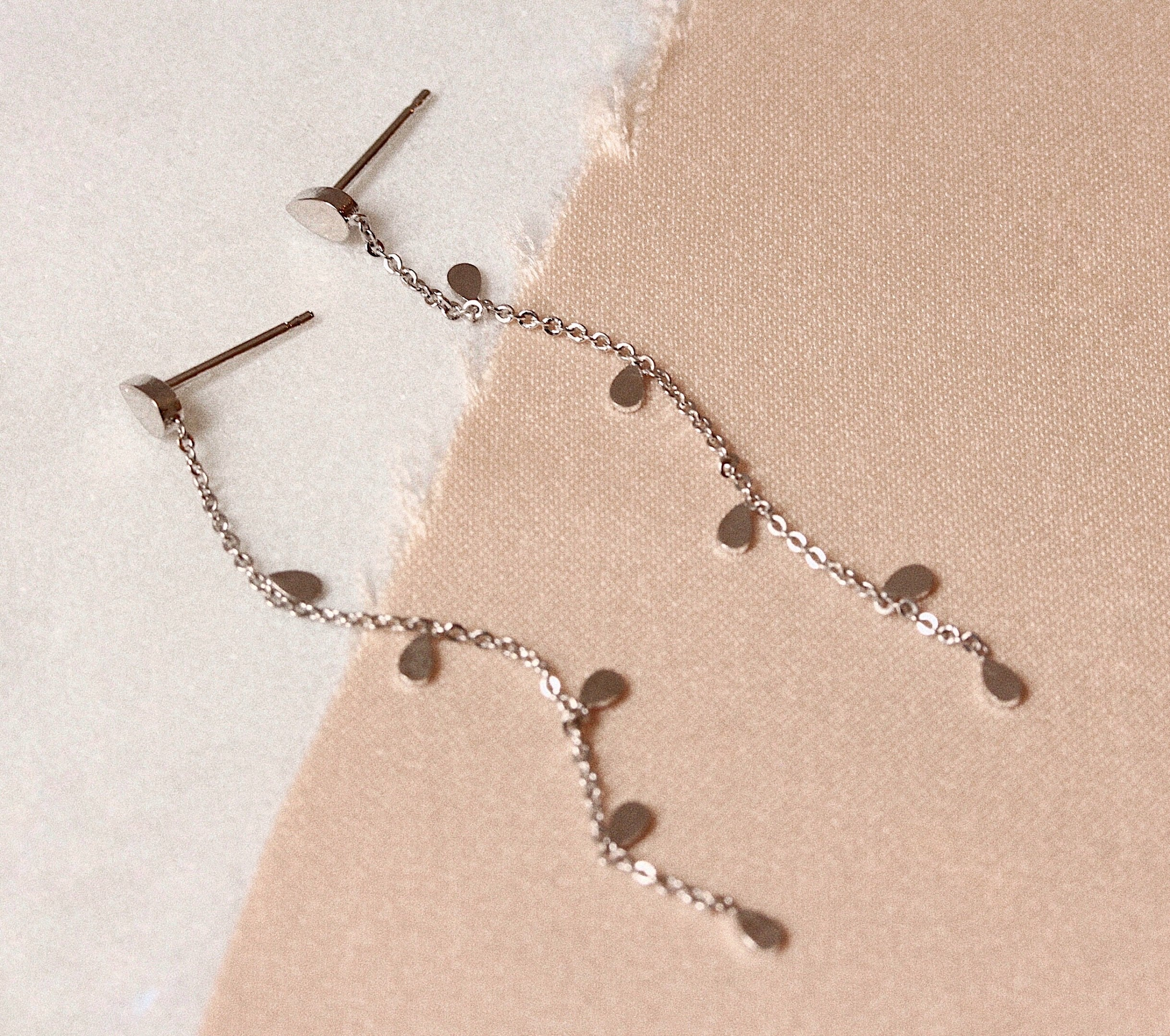 Chain Dangle Earrings with Teardrop Charms