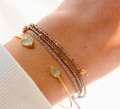 Triple Strand Beaded Bracelet w Dangling Gold Ball Accents