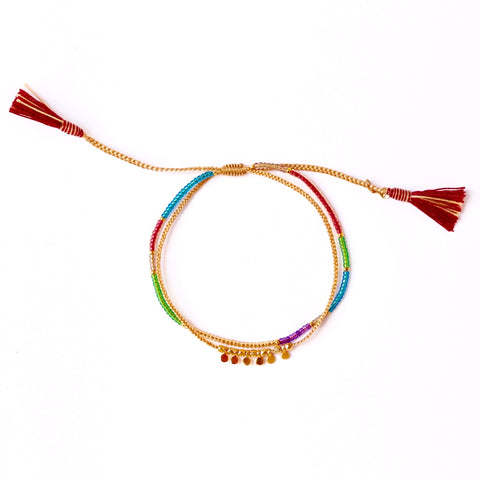 Gold Disc Rainbow Beaded Bracelet