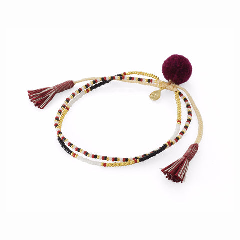 NEUTRAL POM POM DOUBLE STRAND BRACELET