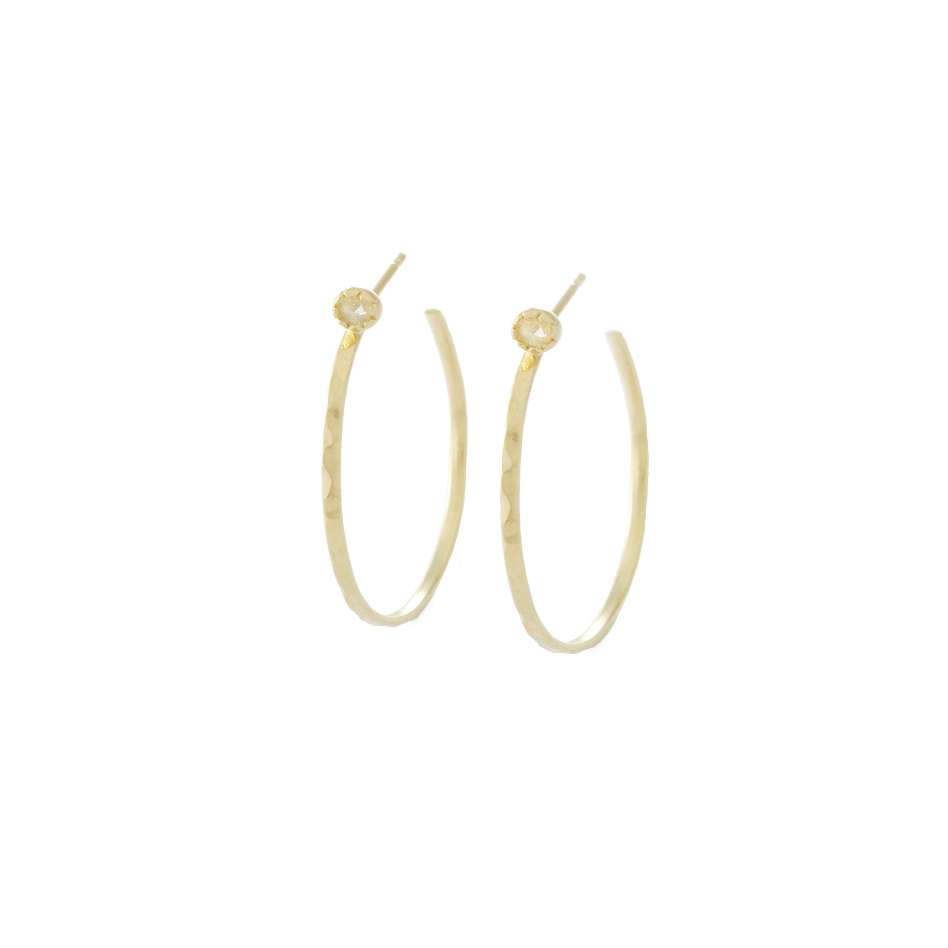 yellow stud hoop facing lyst view gold jewelry fullscreen front earrings zoe chicco diamond