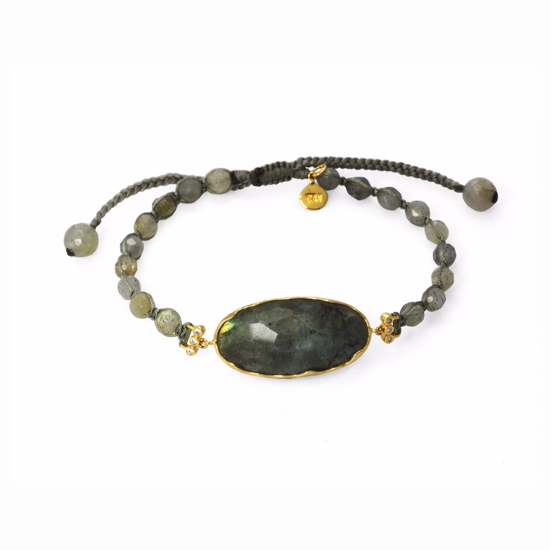 BEADED BRACELET WITH STONE CENTER