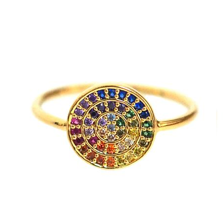 Small Rainbow Disc Ring with Pave CZ Stones
