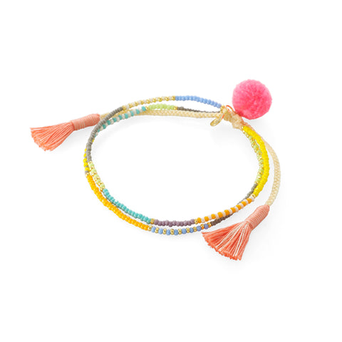 TROPICAL MIX POM POM DOUBLE STRAND BRACELET