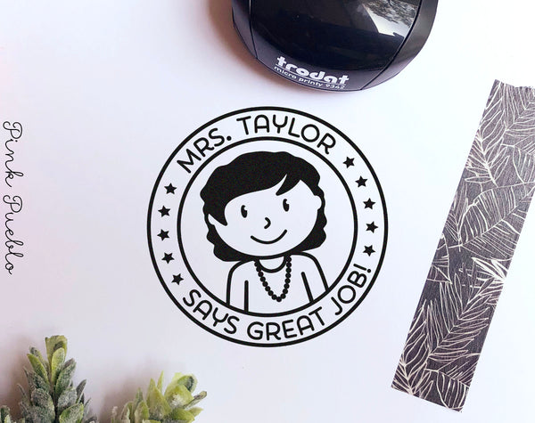Mini Self-Inking Teacher Stamp, Personalized Teacher Stamp Gift - Choose Hairstyle and Accessories