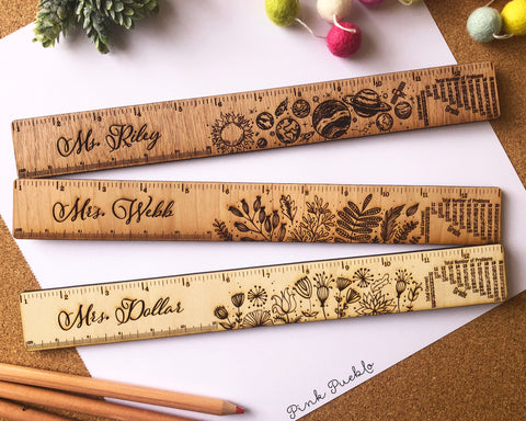 Engraved Personalized Wooden Teacher Ruler with Grading Scale, Personalized Teacher Gift
