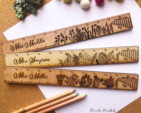 Engraved Personalized Teacher Ruler with Grading Scale, Personalized Teacher Gift