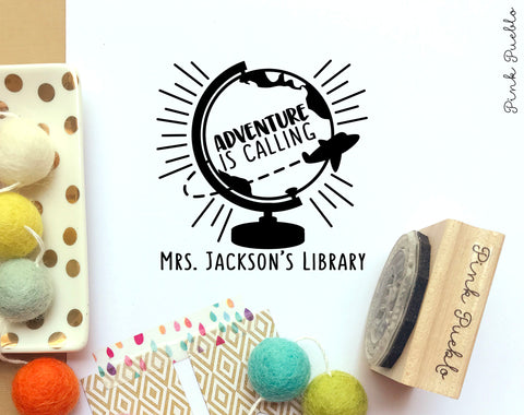 Personalized Bookplate Stamp for Teachers, Teacher Library Stamp, Classroom Library Stamp - PinkPueblo
