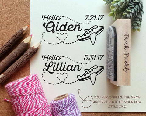 Personalized Airplane Baby Shower Stamp, Birth Announcement Rubber Stamp with Airplane