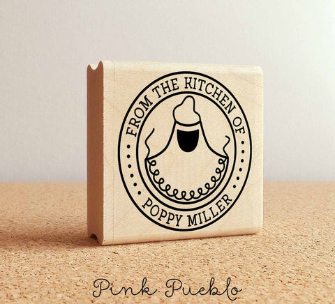 Personalized From the Kitchen Of Rubber Stamp, Label Stamp with Apron