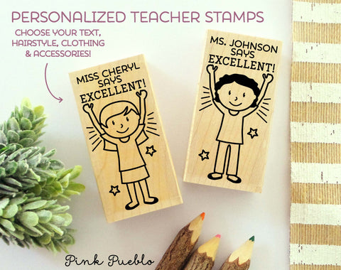 Teacher Name Stamp, Personalized Teacher Stamp, Teacher Appreciation Gift - Choose Hairstyle and Clothing
