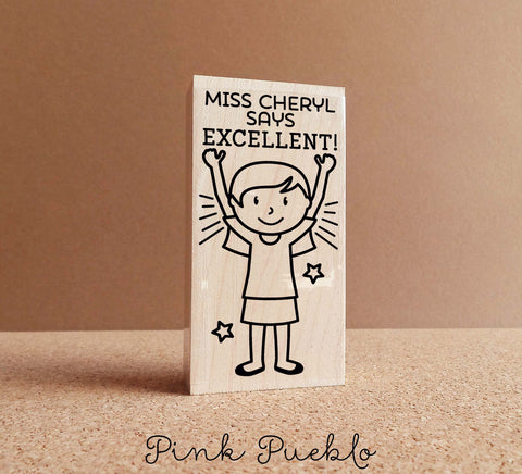 Teacher Name Stamp, Personalized Teacher Stamp, Teacher Appreciation Gift - Choose Hairstyle and Clothing - PinkPueblo