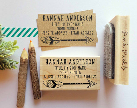 Personalized Feather Arrow Business Card Stamp, Business Card Rubber Stamp - PinkPueblo