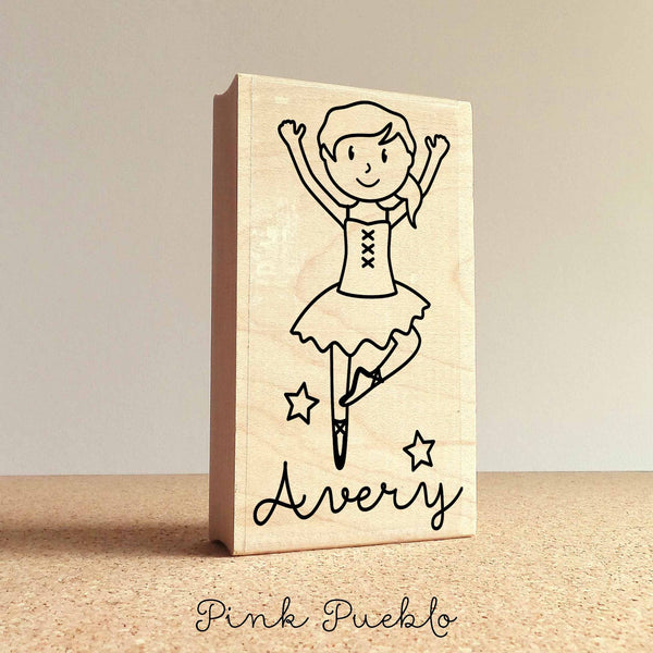 Personalized Ballerina Rubber Stamp for Children, Custom Ballet Stamp