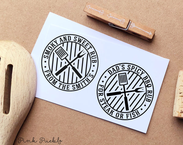 Personalized Barbecue Stamp for Barbecue Labels, Spice Rub Labels, BBQ Labels, and BBQ Gifts - PinkPueblo