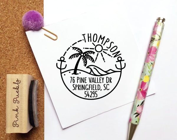 Beach Return Address Stamp, Round Address Stamp with Ocean and Palm Tree - PinkPueblo