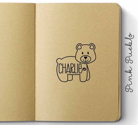 Personalized Custom Bear Rubber Stamp, Custom Bear Name Stamp for Kids - PinkPueblo