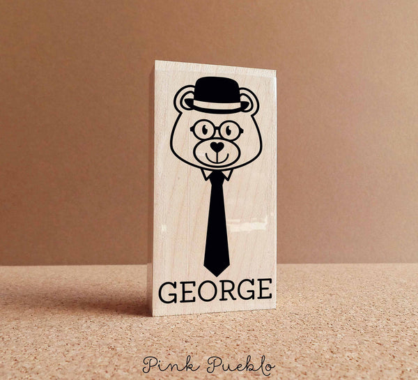 Personalized Hipster Bear Rubber Stamp with Name