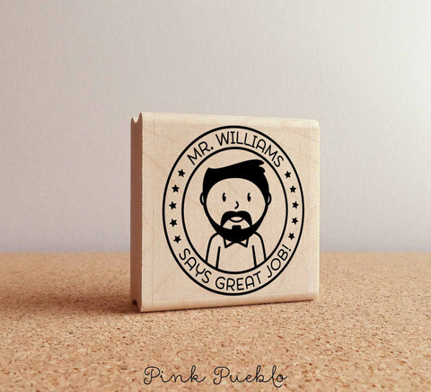 Personalized Male Teacher Rubber Stamp, Custom Teacher Stamp - Choose Text, Hairstyle - PinkPueblo
