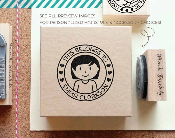 Personalized Kids Label Stamp, Personalized Rubber Stamp for Children - Choose Hairstyle and Accessories - PinkPueblo