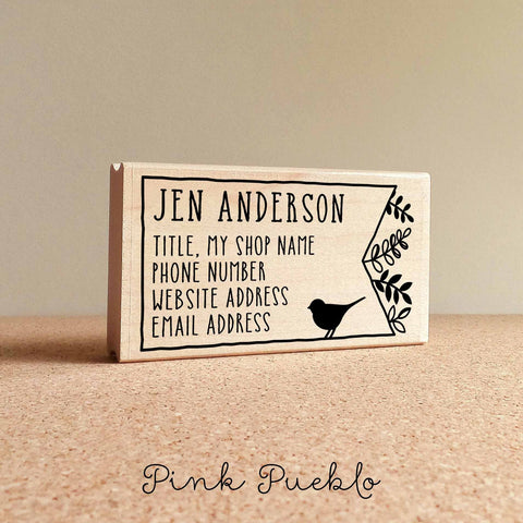 Personalized Bird and Botanicals Business Card Stamp, Business Card Rubber Stamp - PinkPueblo