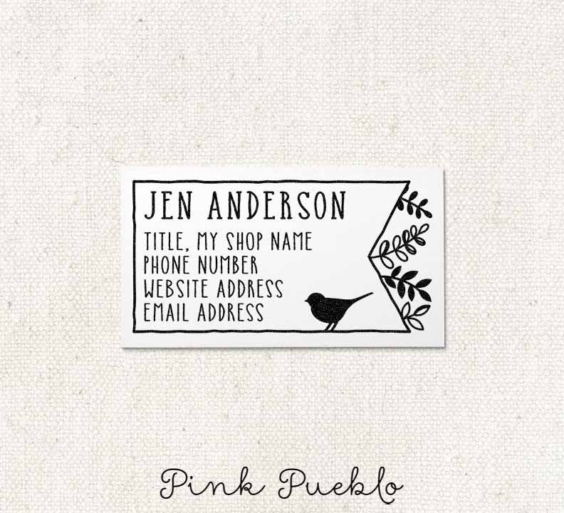 Personalized Bird and Botanicals Business Card Stamp, Business Card ...