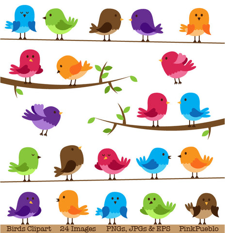 Cute Birds Clipart and Vectors - PinkPueblo