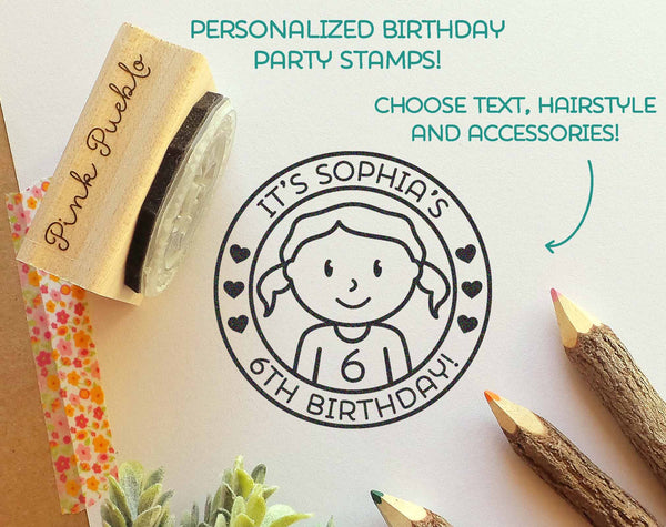 Personalized Birthday Stamp for Girls, Custom Rubber Stamps for Birthday Party - Choose Hairstyle and Accessories - PinkPueblo