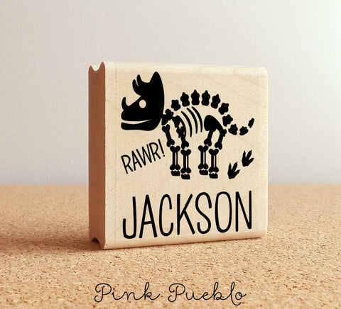 Dinosaur Bones Rubber Stamp for Kids, Personalized Dinosaur Stamp for Children - PinkPueblo
