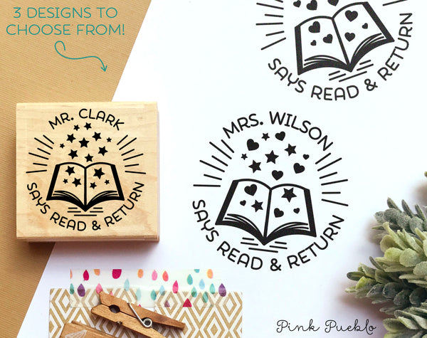 Personalized Teacher Book Stamp, From the Library of Stamp, Teacher Stamps - PinkPueblo