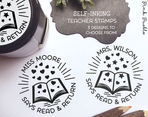 Self Inking Teacher Book Stamp, Personalized From the Library of Stamp, Teacher Stamps - PinkPueblo