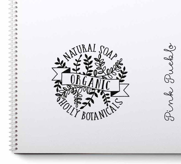 Personalized Botanical Rubber Stamp, Custom Product Label Stamp for Bath and Beauty Products - PinkPueblo