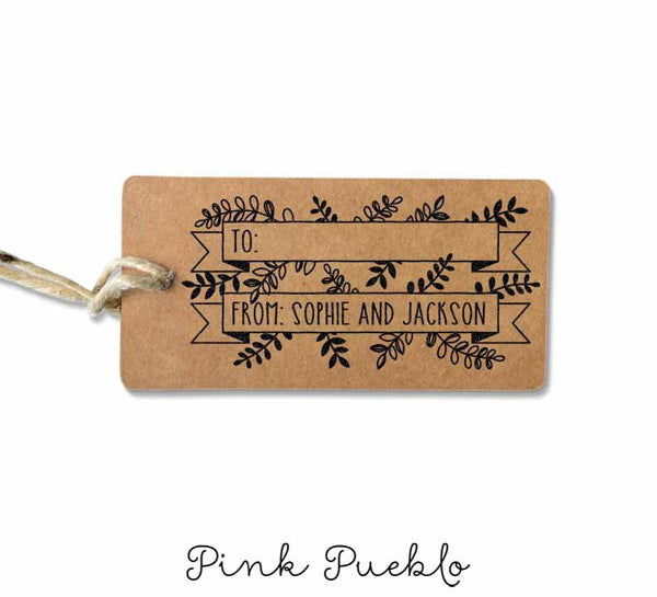 Custom To From Gift Tag or Mailing Stamp with Botanicals, Laurels, and Leaves - PinkPueblo