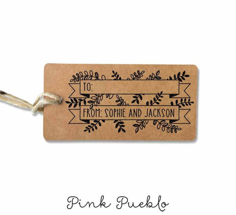 Custom To From Gift Tag or Mailing Stamp with Botanicals, Laurels, and Leaves