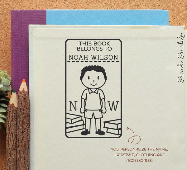 Bookplate Stamp for Kids, Personalized Custom Bookplate Rubber Stamp for Boy - Choose Hair, Clothing and Name - PinkPueblo