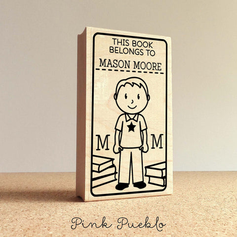 Bookplate Stamp for Kids, Personalized Custom Bookplate Rubber Stamp for Boy - Choose Hair, Clothing and Name